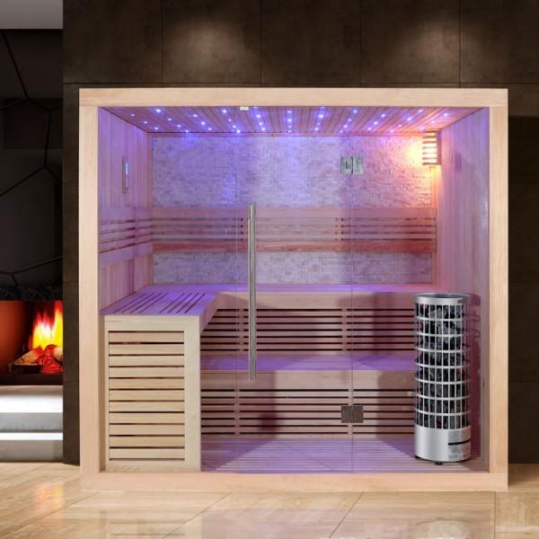 EO-SPA Sauna E1102A Pappelholz/220x200/9kW Cilindro