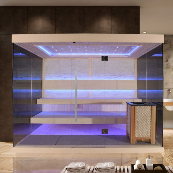 EO-SPA Sauna E1240E Pappelholz/200x180/9kW EOS Cubo