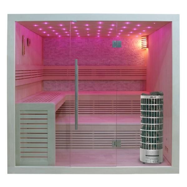 EO-SPA Sauna E1102A Pappelholz 220x200 9kW Cilindro Sondermaß 200x200cm