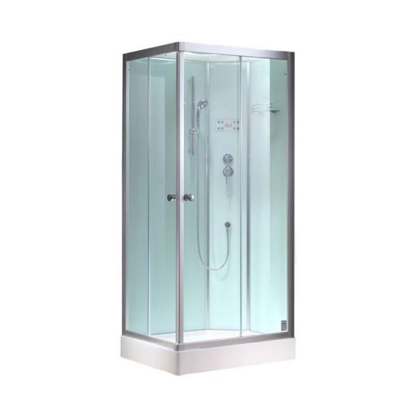 EAGO Dusche Duschabtrennung 800-8GH weiß 80 Eck