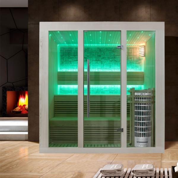 EOSPA Sauna E1215B Pappelholz/180x150/9kW Cilindro