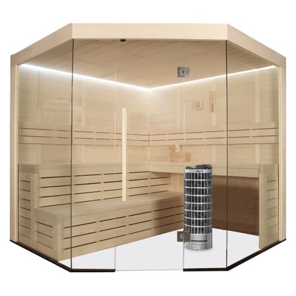EO-SPA Sauna E1201B Pappelholz 205x205 9kW Cilindro