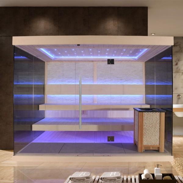 EO-SPA Sauna E1240C Pappelholz/250x180/12kW EOS Cubo