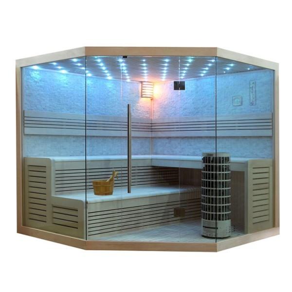 EO-SPA Sauna E1101B Pappelholz 200x200 9kW Cilindro
