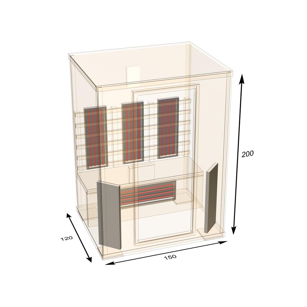 infrarotkabine ath150 hemlockholz sauna doppelstrahler neuheit 2017 ebay. Black Bedroom Furniture Sets. Home Design Ideas