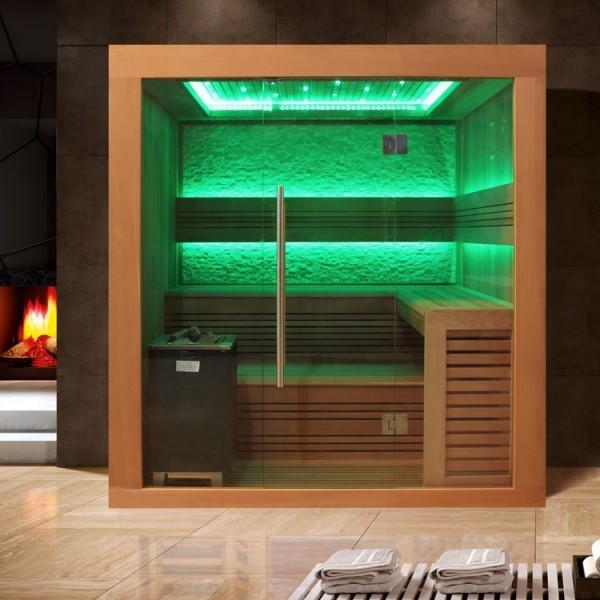 EO - SPA Sauna E1241A rote Zeder/ 220 x 170/ 9kW EOS Cubo