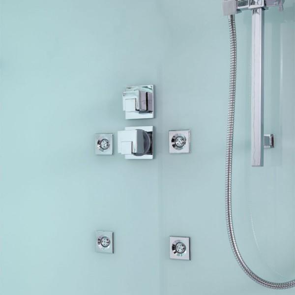 EAGO Dusche D990 mit Duschtasse weiß/ 120 x 90/ links
