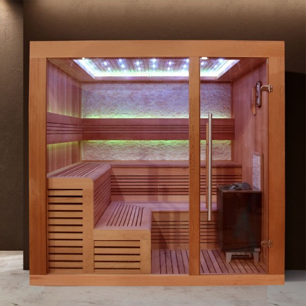 EO - SPA Sauna E1243A rote Zeder/ 220 x 220/ 9kW EOS Cubo