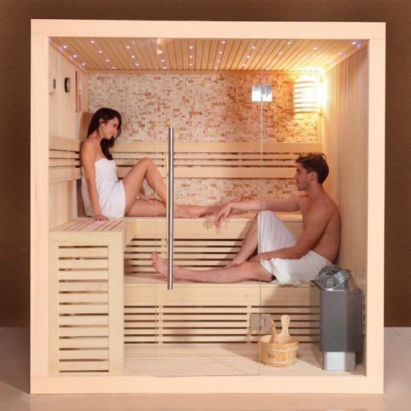 EOSPA Sauna E1102C Pappelholz/180x150/9kW Cilindro